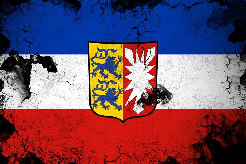Le Schleswig-Holstein illustration rouillée et grunge d'Allemagne de drapeau illustration de vecteur