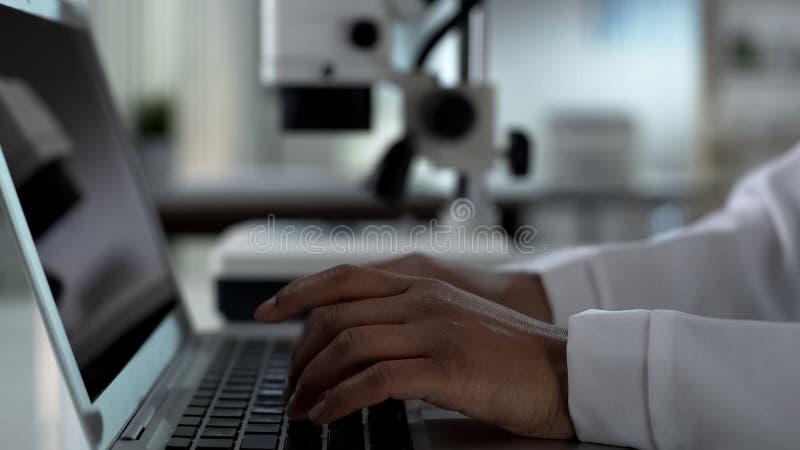 Le scientifique féminin remet la dactylographie sur l'ordinateur portable, travaillant à la recherche expérimentale dans le labor image stock