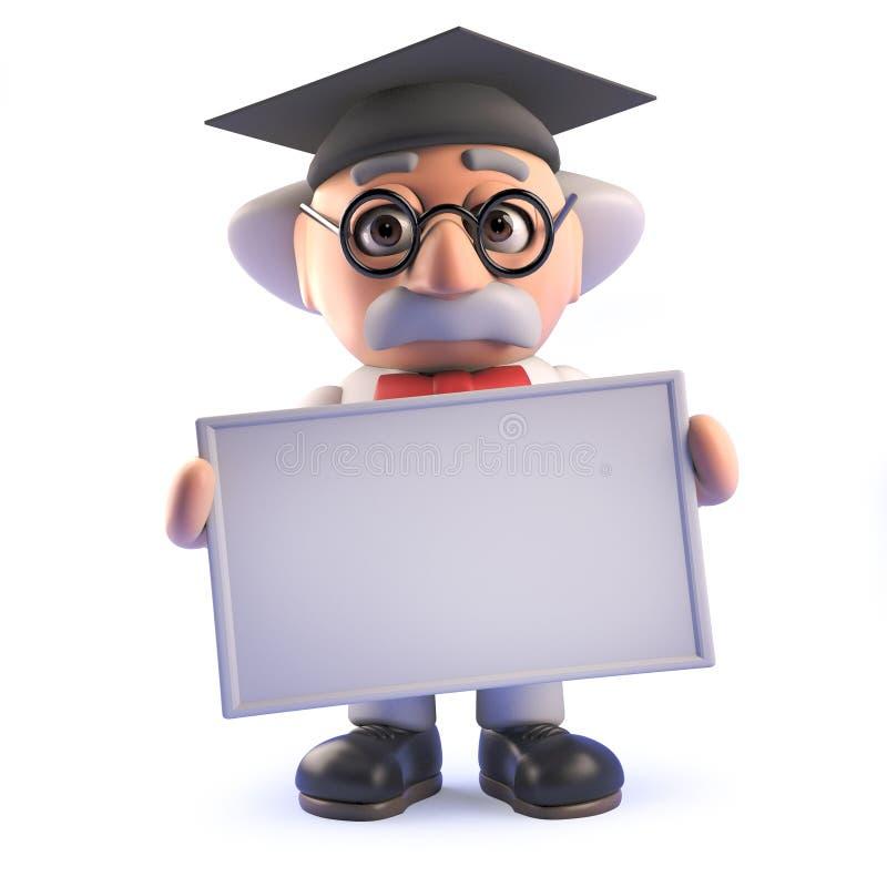 Le scientifique fou fou de professeur portant un panneau de mortier et tenant un blanc signent dans 3d