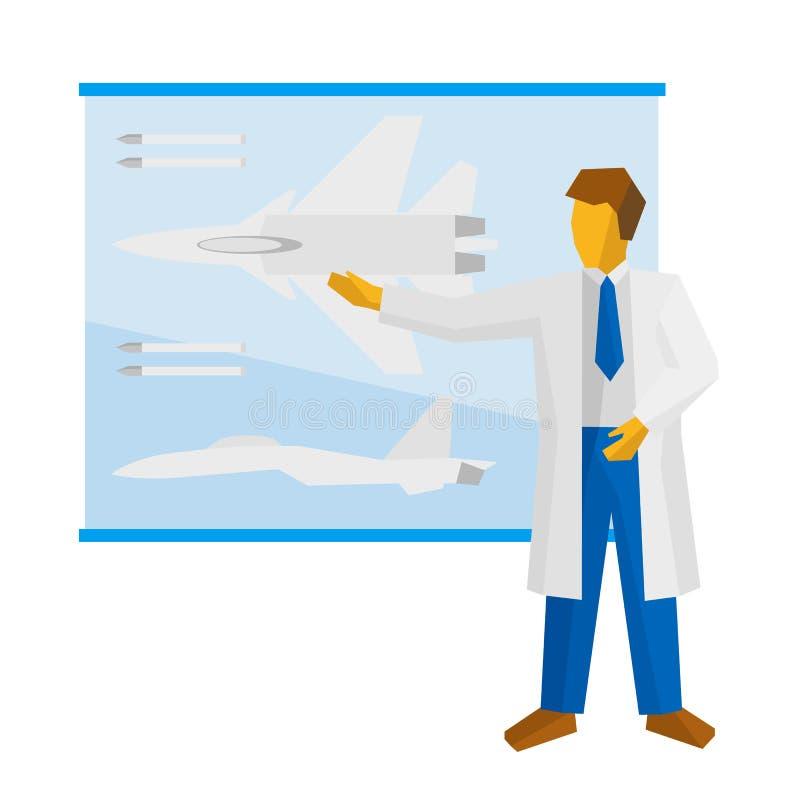 Le scientifique montre une affiche avec un chasseur illustration libre de droits