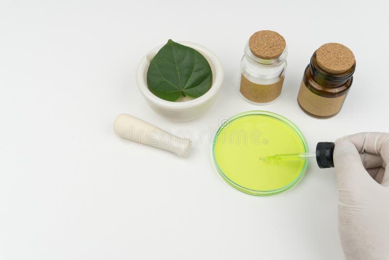 le scientifique tenant un compte-gouttes liquide vert photo libre de droits