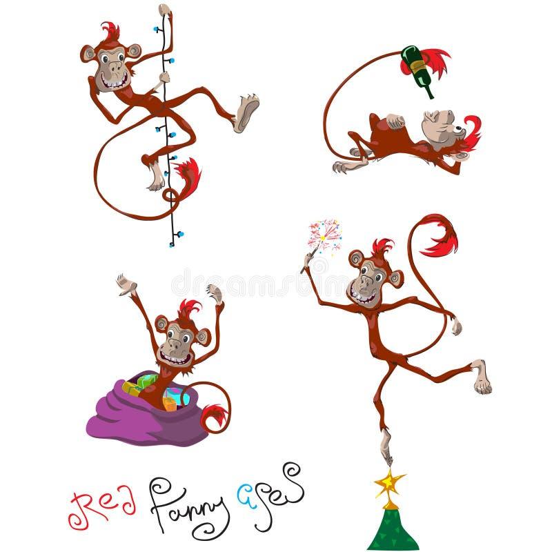 Le scimmie vector l'insieme royalty illustrazione gratis
