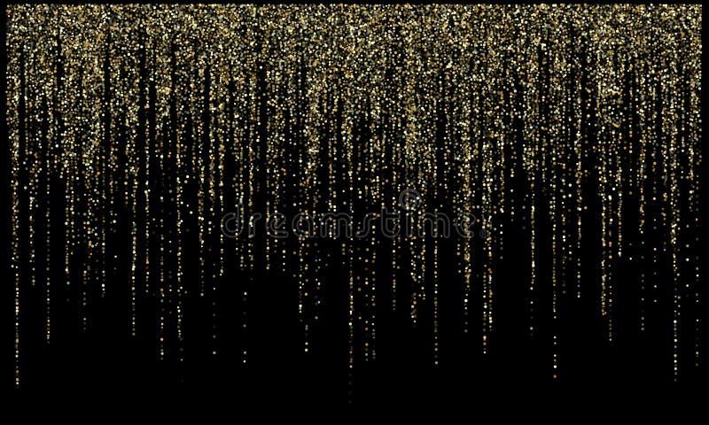 Le scintillement d'or de lumières de guirlande accrochant les lignes verticales dirigent le fond de vacances illustration libre de droits