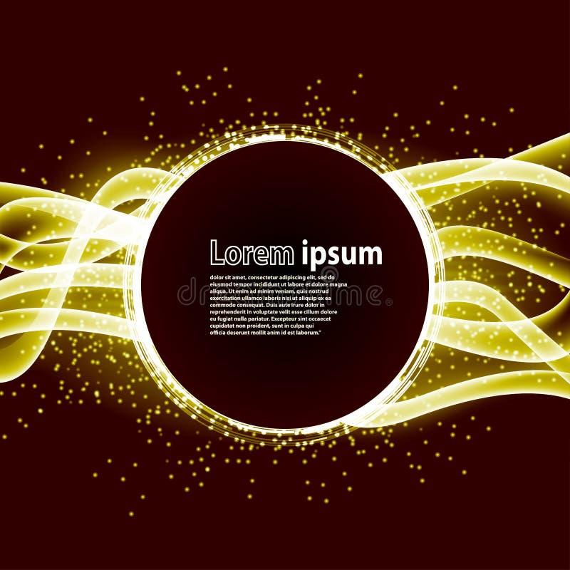 Le scintillement d'or pGolden la disposition d'abrégé sur affiche de partie de scintillement avec le cercle entouré par la fusée  illustration de vecteur