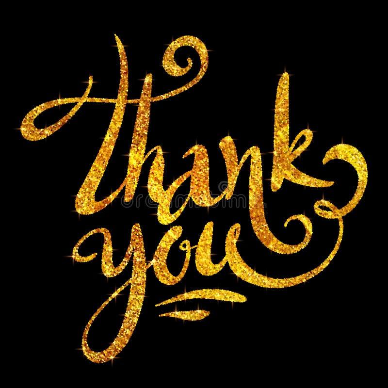 Le scintillement d'or vous remercient le vecteur que calligraphique se connectent le fond noir illustration stock