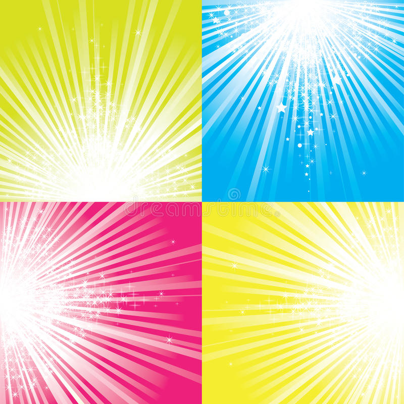 Le scintillement stars la descente sur des faisceaux de lumière. illustration libre de droits