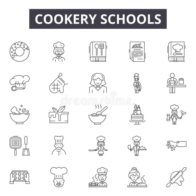 Le scuole di cucina allineano le icone, i segni, l'insieme di vettore, concetto dell'illustrazione del profilo illustrazione vettoriale