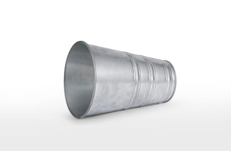 Le seau vide de zinc une fin est isolé sur le blanc photos stock