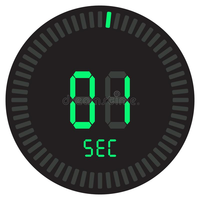 Le seconde numérique de la minuterie 1 chronomètre électronique avec un cadran de gradient mettant en marche l'icône de vecteur,  illustration de vecteur