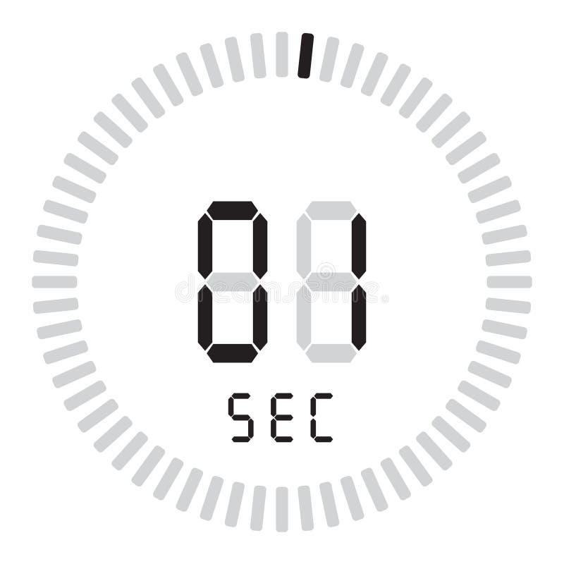 Le seconde numérique de la minuterie 1 chronomètre électronique avec un cadran de gradient mettant en marche l'icône de vecteur,  illustration stock