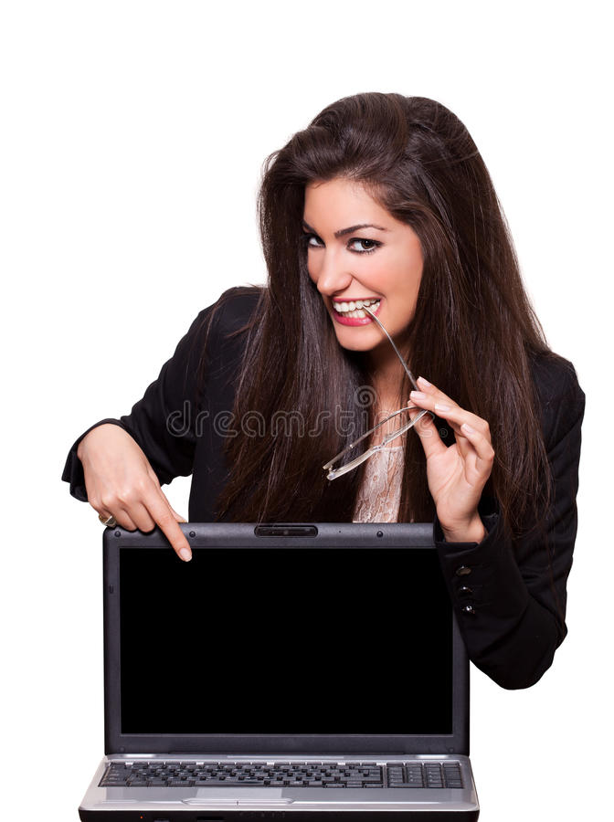 Le secret de la réussite. Jeune femme d'affaires photo stock