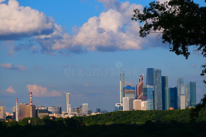 Le secteur des gratte-ciel de la ville de Moscou, vue de loin par des feuilles, bois image libre de droits