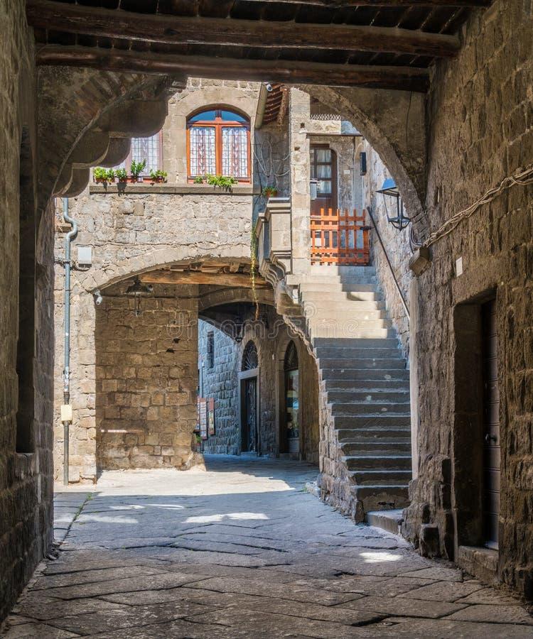 Le secteur médiéval pittoresque de San Pellegrino à Viterbe, Latium, Italie centrale photo stock