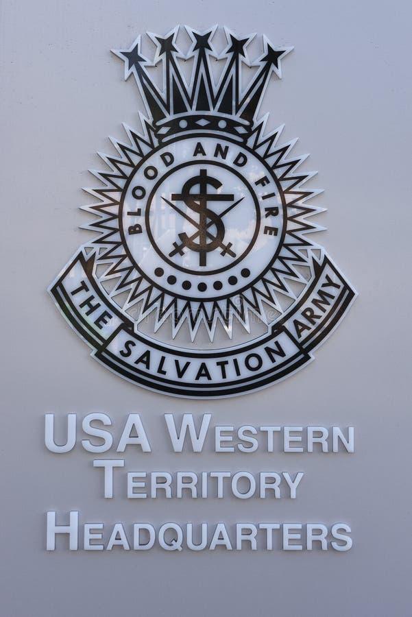 Le sedi occidentali del territorio di U.S.A. dell'esercito della salvezza firmano fotografie stock