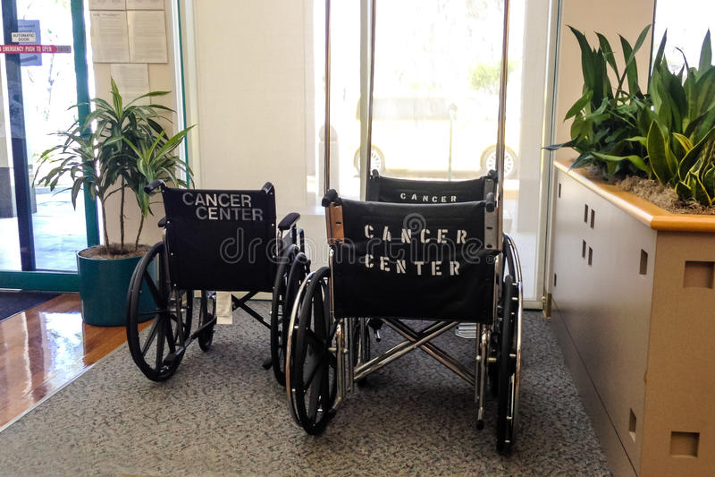 Le sedie a rotelle con Cancro concentrano sopra indietro nella sala di attesa fotografia stock libera da diritti