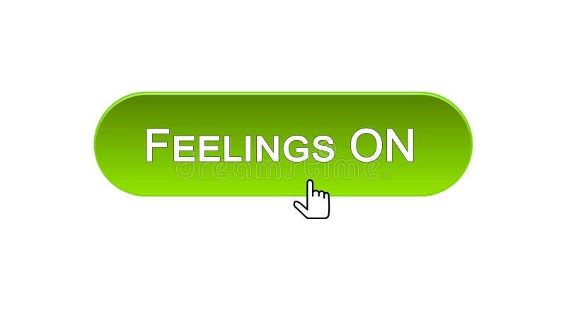 Le sensibilità sull'interfaccia di web si abbottonano cliccato con il cursore del topo, colore verde, online illustrazione di stock