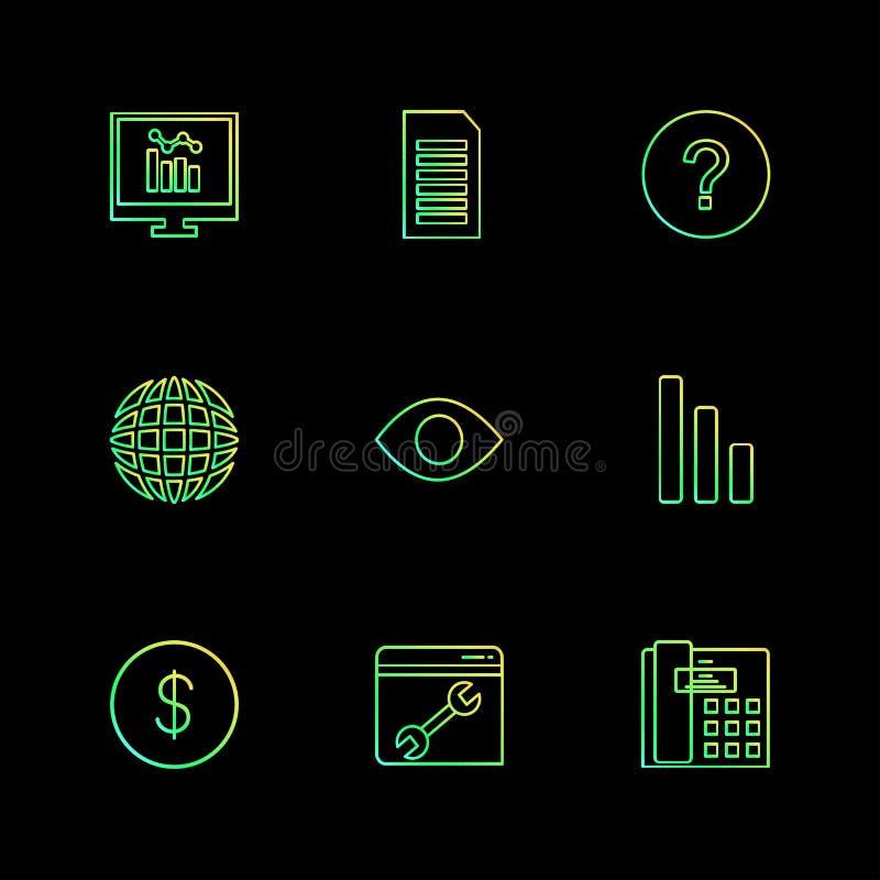 le seo, technologie, Internet, drapeaux, ordinateur, icônes d'ENV a placé v illustration libre de droits