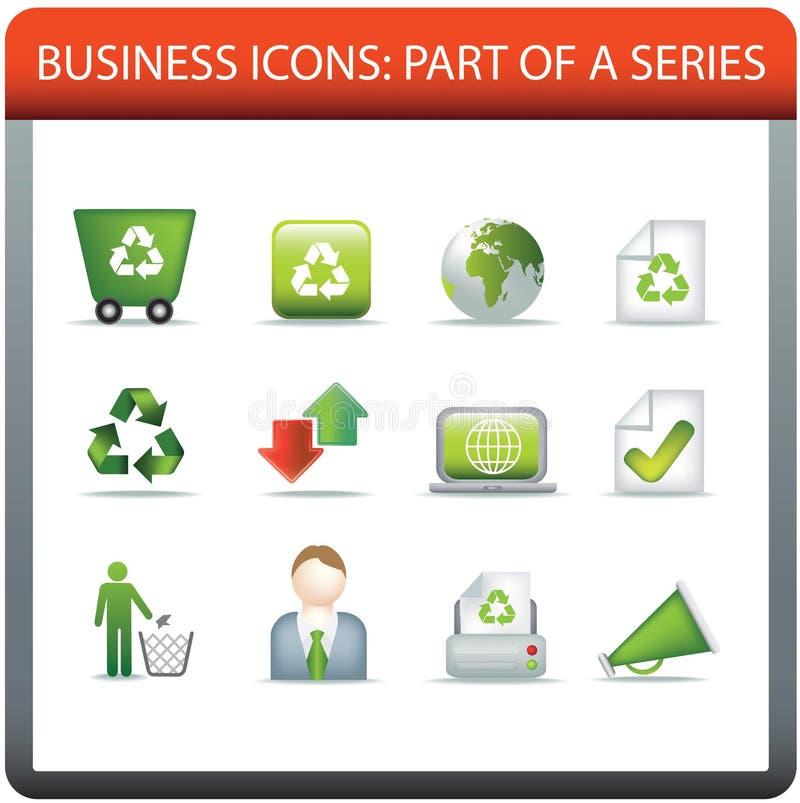 Le serie 5 dell'icona di affari riciclano e conservano illustrazione di stock
