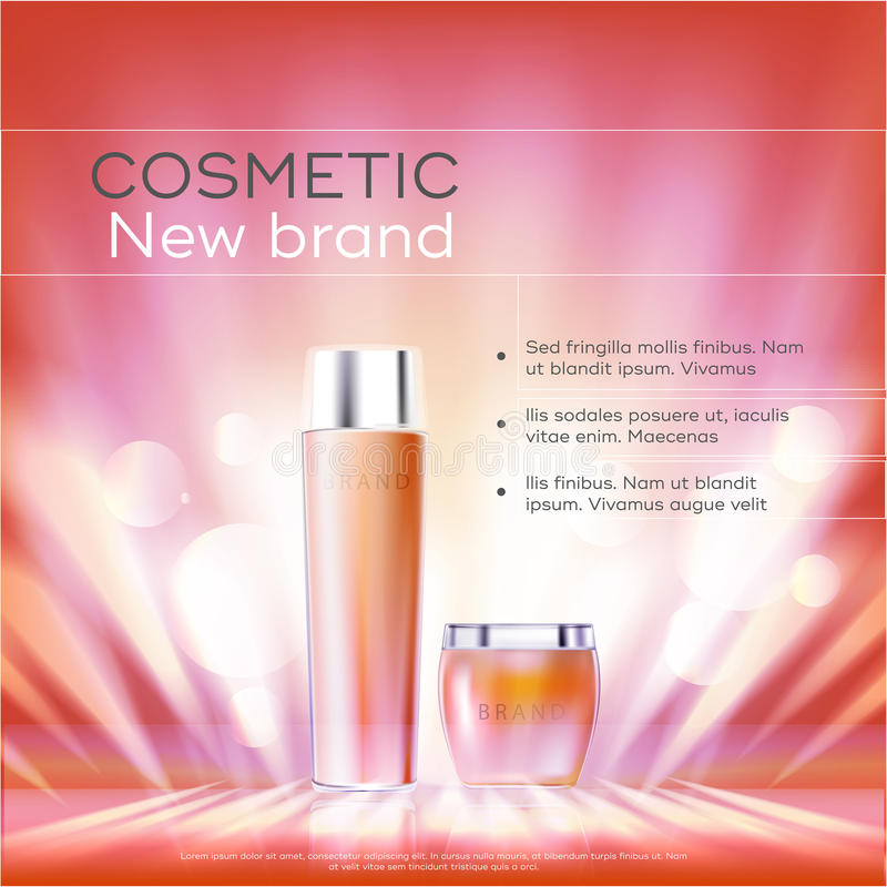 Le serie di bellezza dei cosmetici, annunci dell'ente premio spruzzano la crema per cura di pelle Modello per il manifesto di pro royalty illustrazione gratis