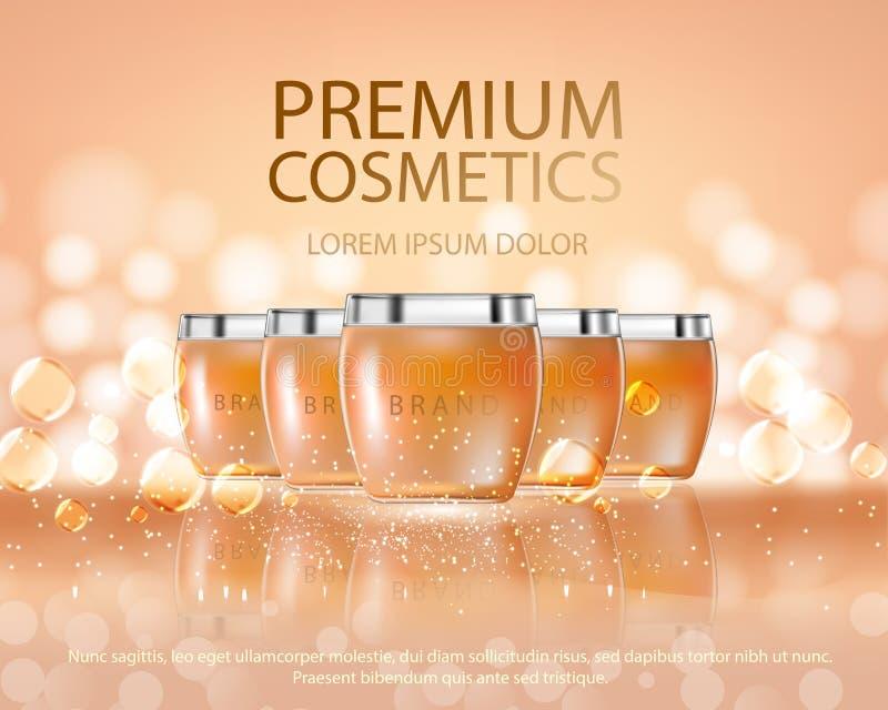 Le serie di bellezza dei cosmetici, annunci dell'ente premio spruzzano la crema per cura di pelle Modello per il manifesto di pro illustrazione vettoriale