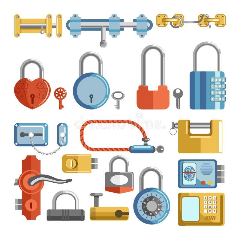 Le serrature di porta ed i fermi del lucchetto chiude a chiave le retro ed icone piane moderne di vettore illustrazione vettoriale
