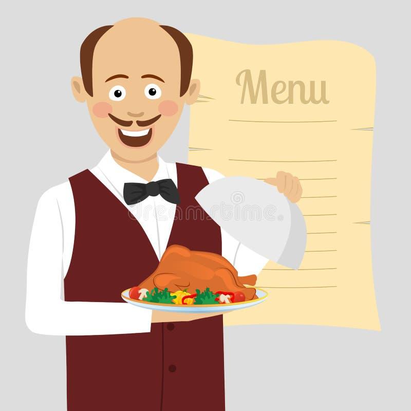Le serveur mignon avec la volaille rôtie par portion de plateau se tient au-dessus du menu vide illustration libre de droits