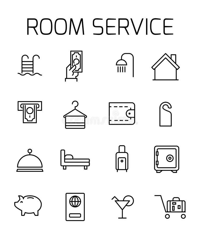 Le service d'étage a rapporté l'ensemble d'icône de vecteur illustration libre de droits