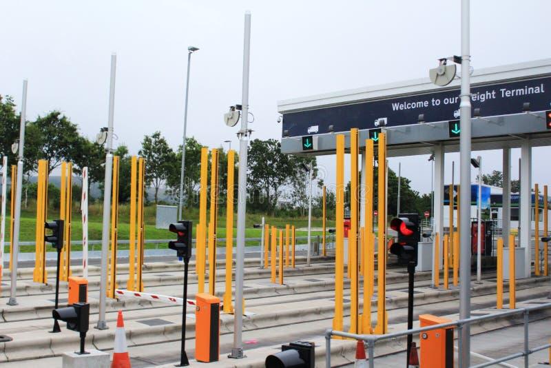 Le service d'Eurotunnel signent la cabine photo stock