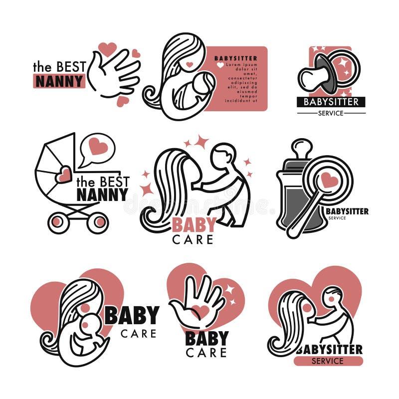 Le service de bonne d'enfants ou l'agence de babysitter a isolé le soin de bébé d'icônes illustration stock