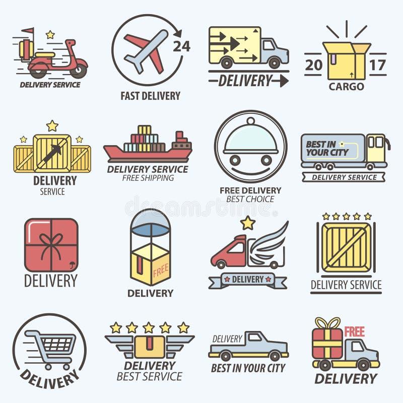 Le service de distribution libre rapide transporte Logo Set illustration stock
