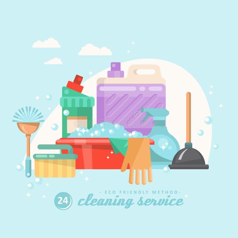 Le service de nettoyage 24 heures dirigent l'illustration dans la conception plate moderne illustration libre de droits