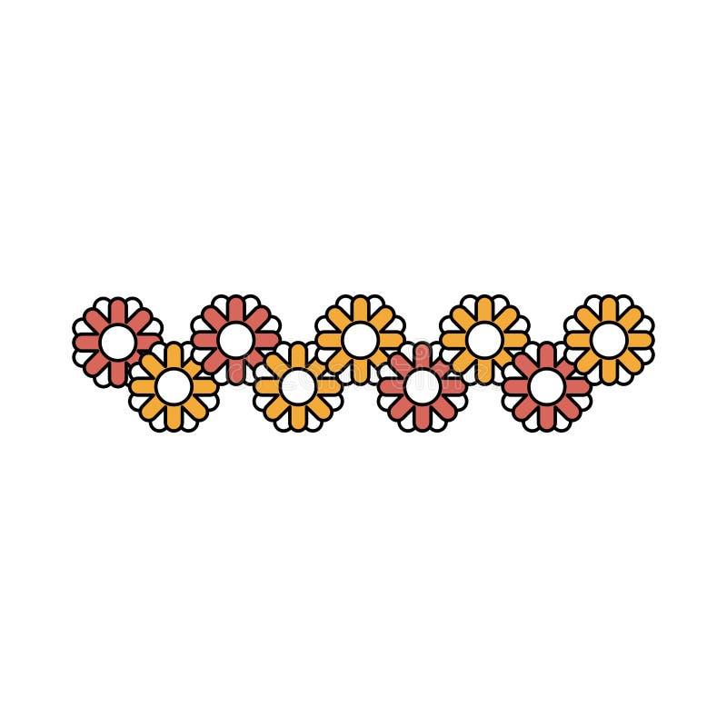 Le sezioni di colore profilano dei girasoli astratti modellano multicolore illustrazione vettoriale