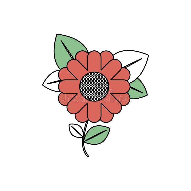 Le sezioni di colore profilano del girasole astratto con il gambo e delle foglie in primo piano con il contorno spesso illustrazione di stock