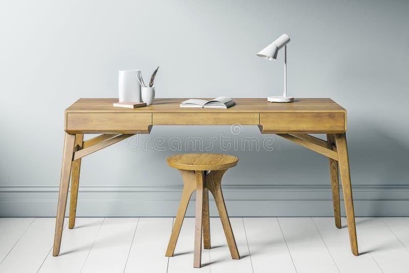 Le siège social ou l'étude, se ferment vers le haut de la vue de la chaise et de la table en bois avec le mur bleu gris à l'arriè illustration libre de droits