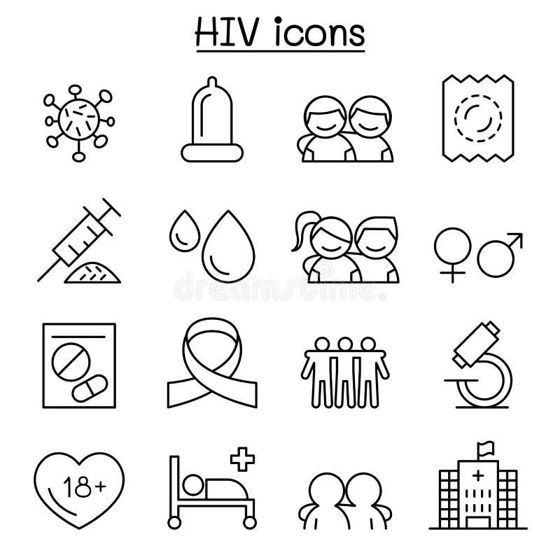 Le SIDA, icône d'HIV a placé dans la ligne style mince illustration de vecteur