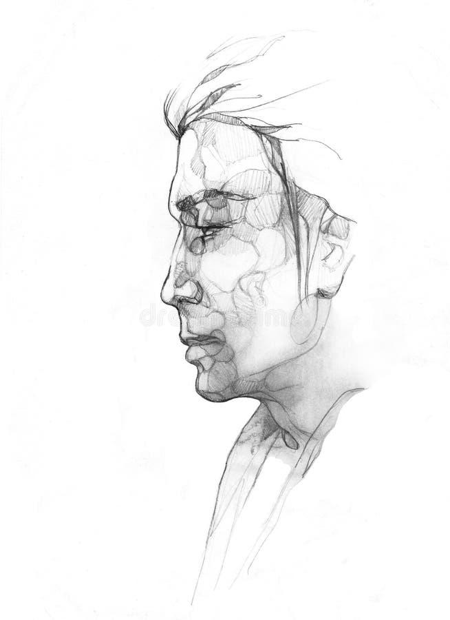 Le sideview de l'homme de dessin d'imagination illustration de vecteur