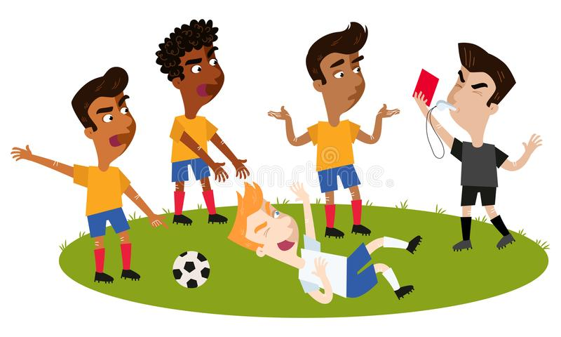 Le sifflement de soufflement d'arbitre du football de bande dessinée, tenant la carte rouge, a abordé le joueur prenant un piqué, illustration stock