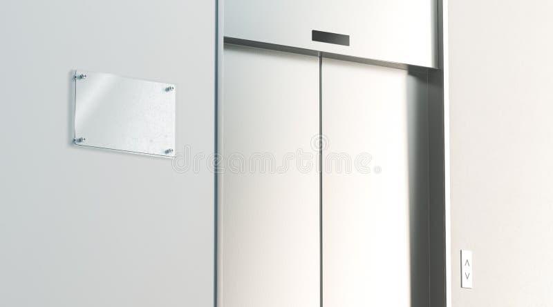 Le signage vide près de l'argent a fermé l'ascenseur dans l'intérieur de plancher de bureau photo libre de droits