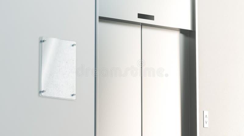 Le signage vide près a fermé l'ascenseur dans la maquette d'intérieur de plancher de bureau images libres de droits