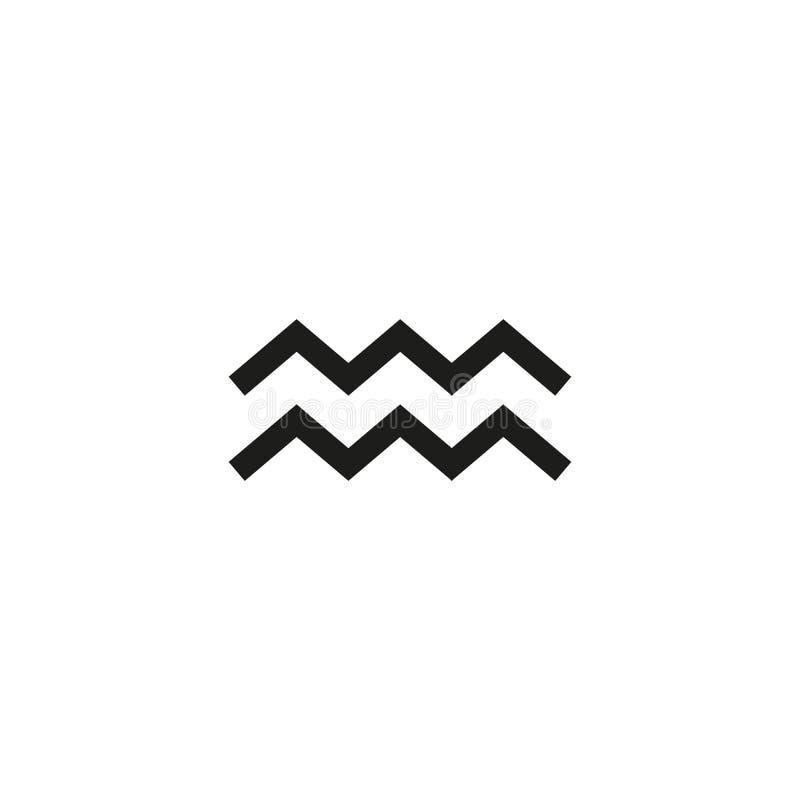 Le signe à l'encre noire de zodiaque de Verseau, icône astrologique a isolé Clipart (images graphiques) de symbole de zodiaque d' illustration libre de droits