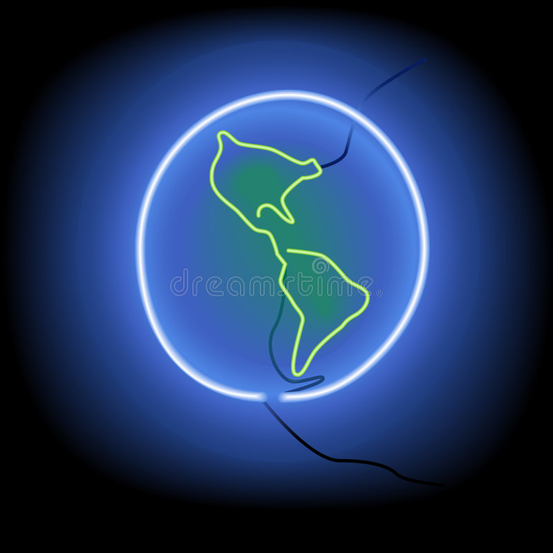 Le signe au néon rougeoyant mettent à la terre comme graphisme de symbole sur le noir illustration de vecteur