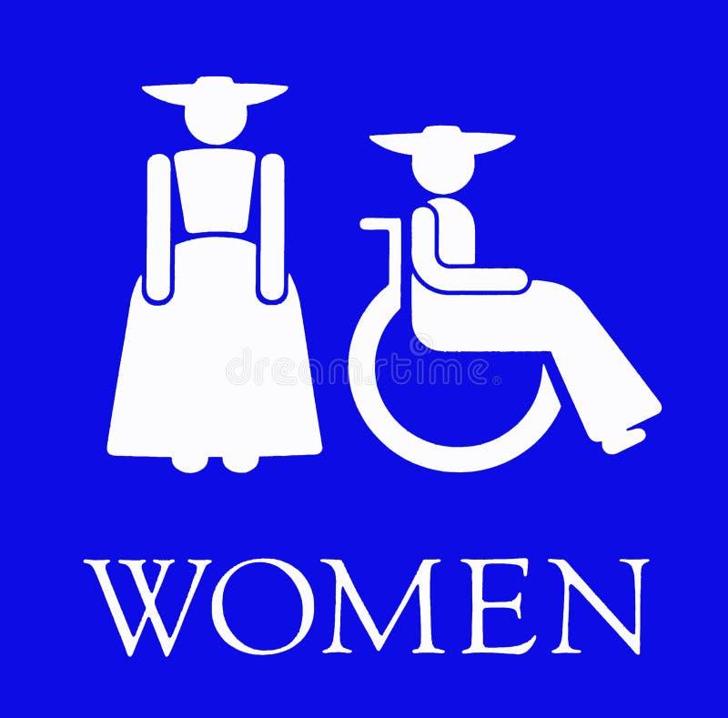 Le signe bleu pour les toilettes de Ladiesâ illustration de vecteur