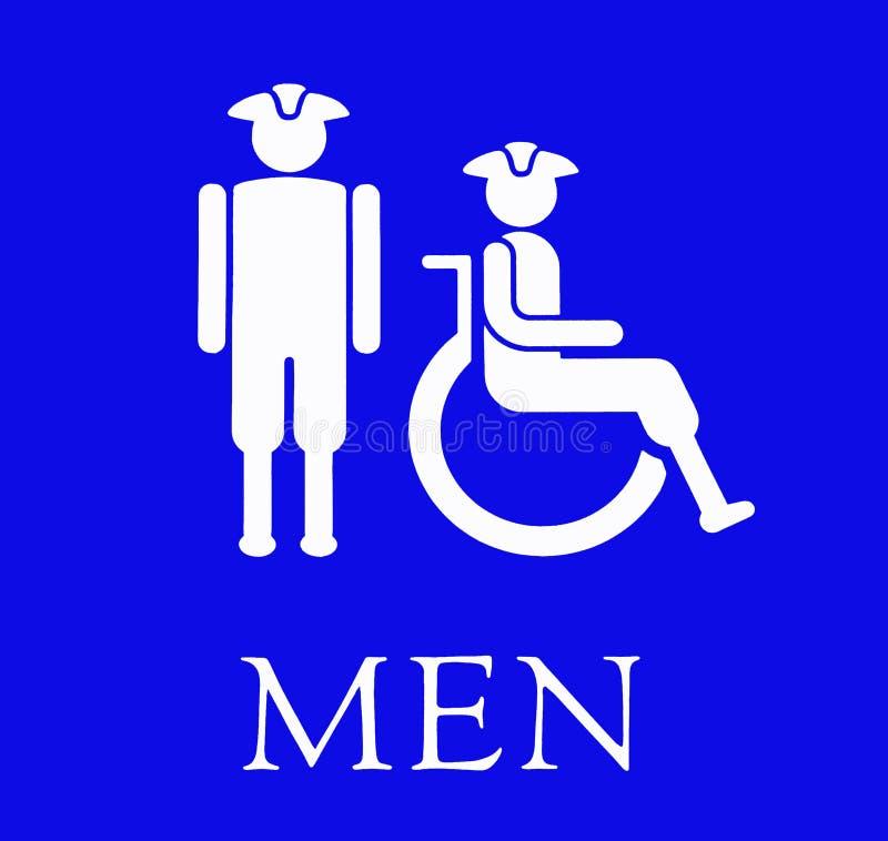 Le signe bleu pour les toilettes de Menâs illustration de vecteur