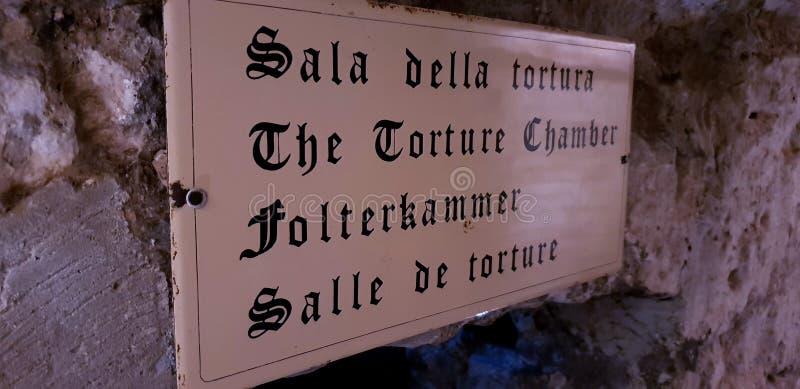 Le signe d'entrée de chambre de torture photos libres de droits