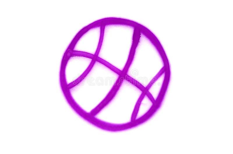 Le signe de basket-ball de graffiti a pulv?ris? sur le fond d'isolement blanc illustration stock