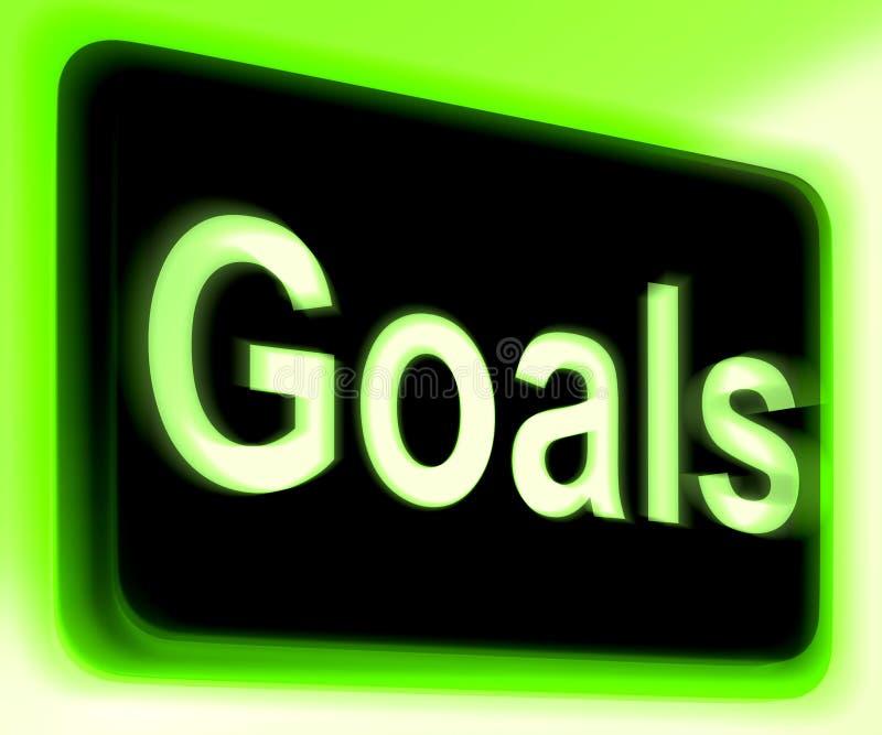 Le signe de buts montre des objectifs ou des aspirations d'objectifs illustration libre de droits