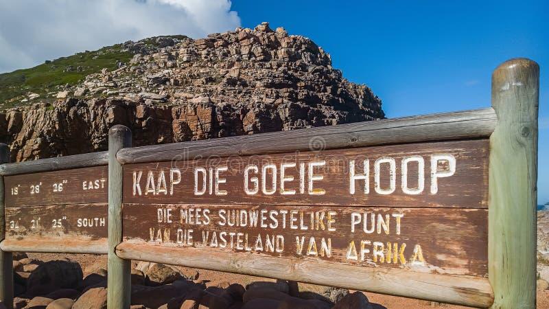 Le signe de conseil de marquer le Cap de Bonne-Espérance photographie stock libre de droits