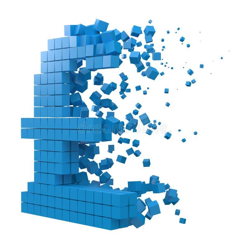Le signe de livre a formé le bloc de données version avec les cubes bleus illustration de vecteur de style du pixel 3d illustration libre de droits