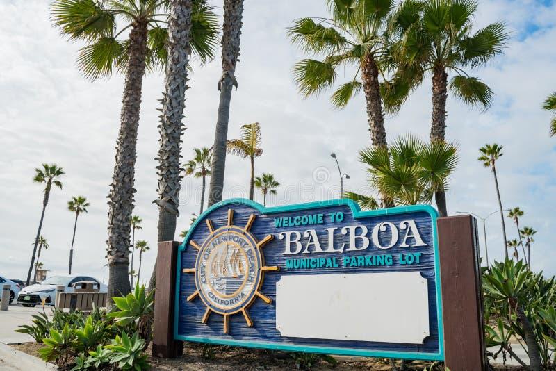 Le signe de stationnement de voiture du pilier célèbre de Balboa images stock