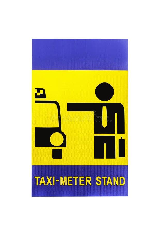 Le signe de support de mètre de taxi a isolé images libres de droits